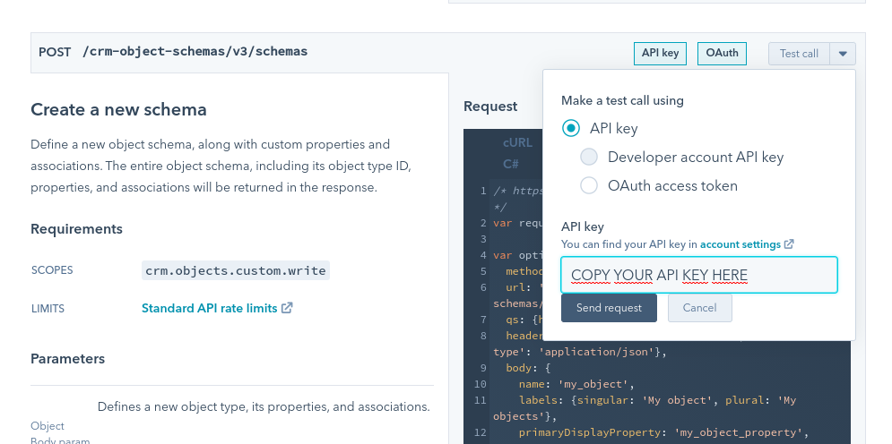 Use your HubSpot API key to create a HubSpot Custom Objects